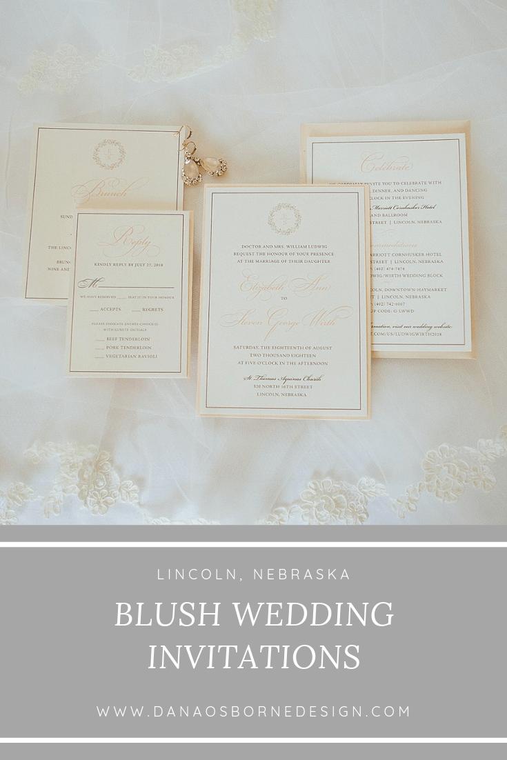 Blush Classic Wedding Lincoln, Nebraska. Invitations by Dana Osborne Design