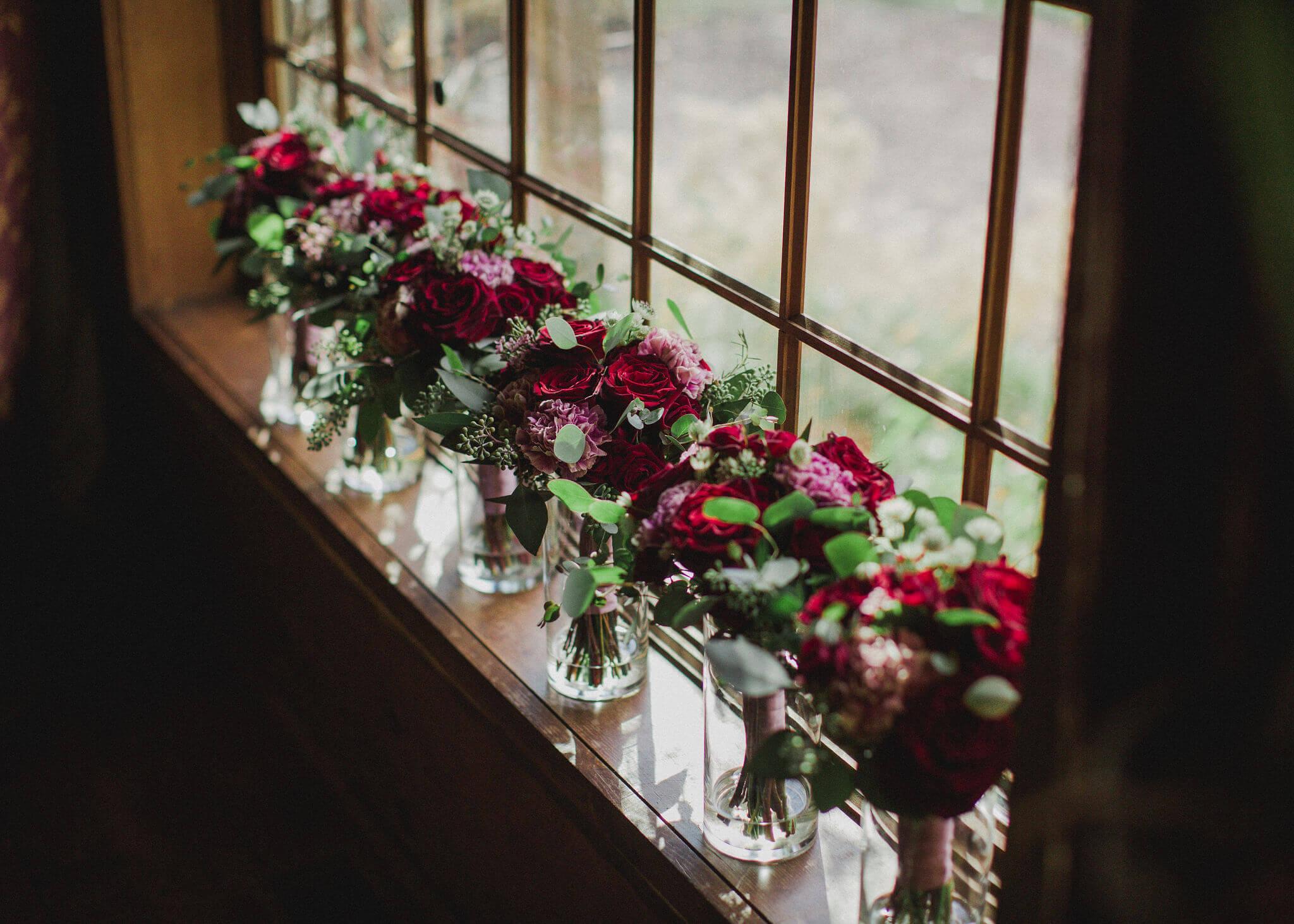 Burgundy Florals Bouquets Bridemaids Dana Osborne Design