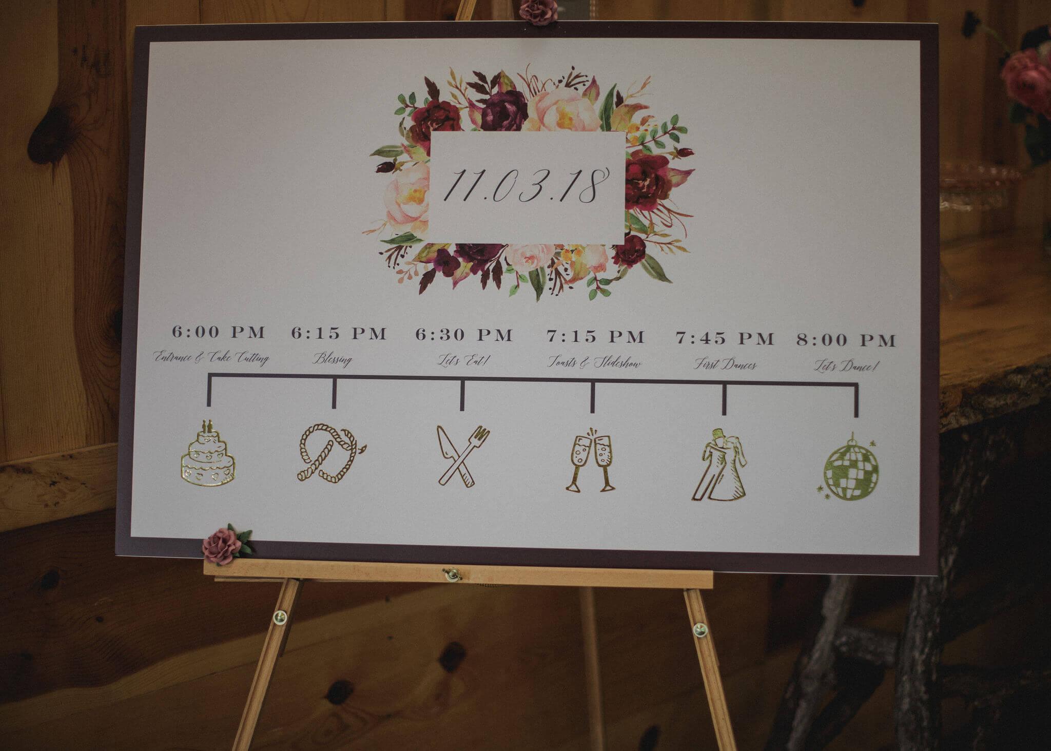 Timeline Board Wedding Reception Dana Osborne Design