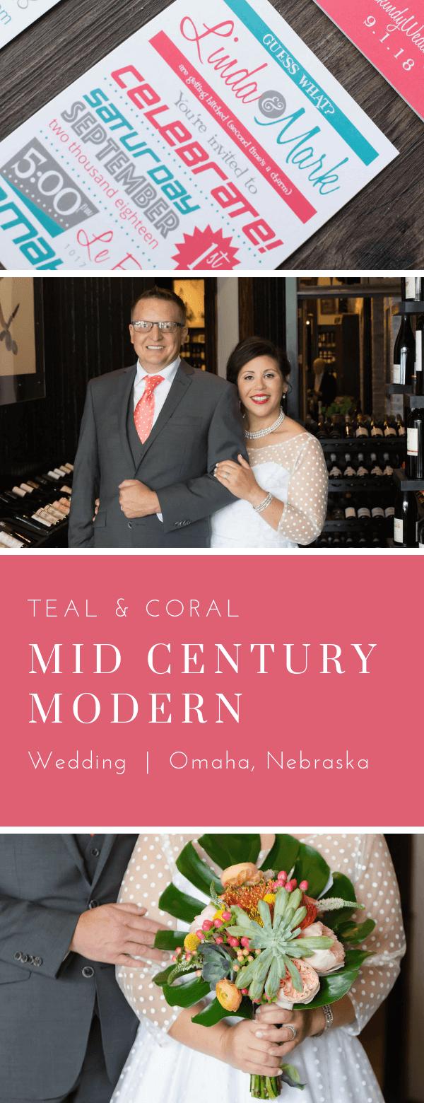 Mid Century Modern Wedding.  Omaha, Nebraska. Invitations by Dana Osborne Design