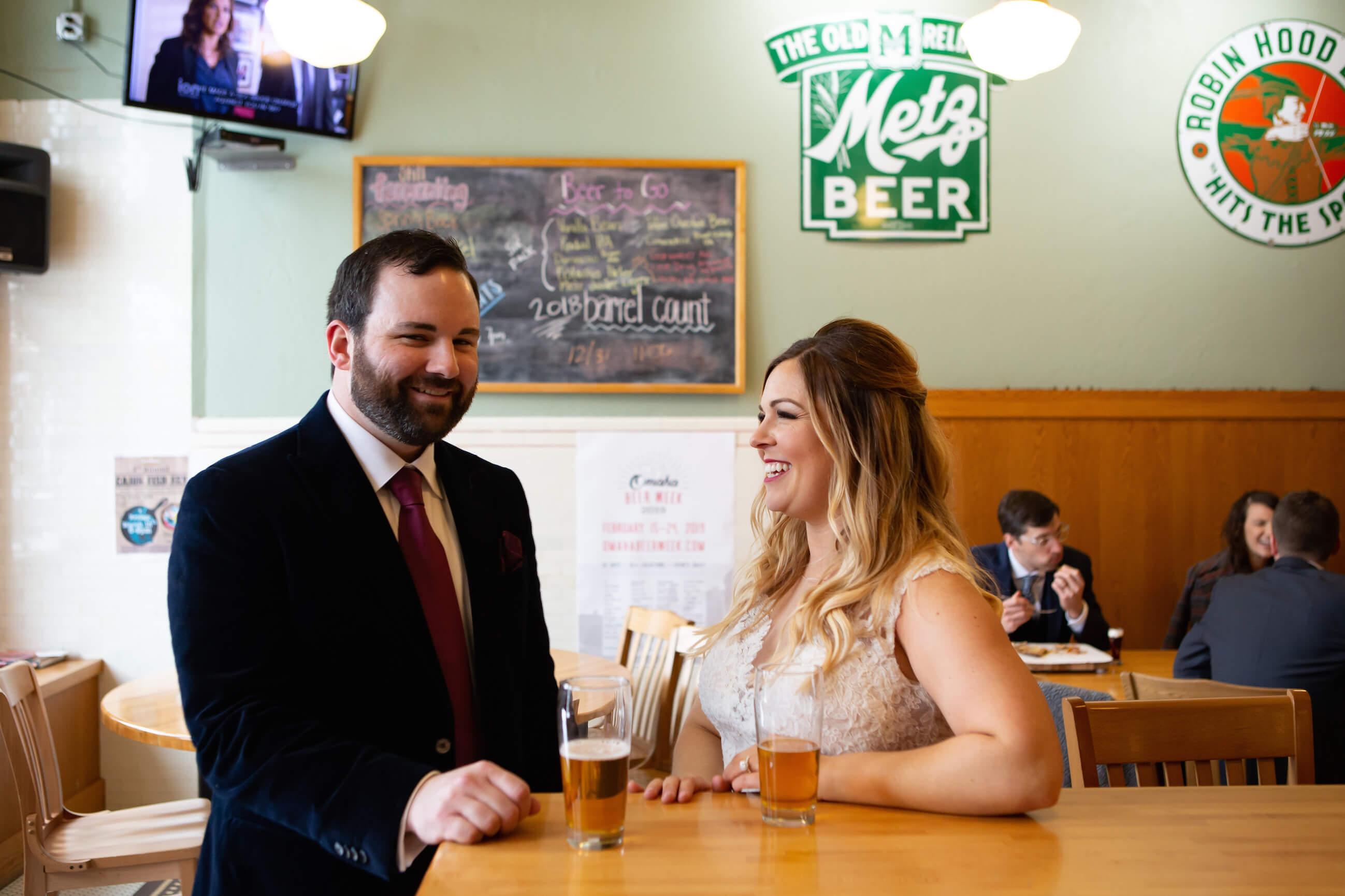 beer, newlyweds at bar, Omaha, Nebraska
