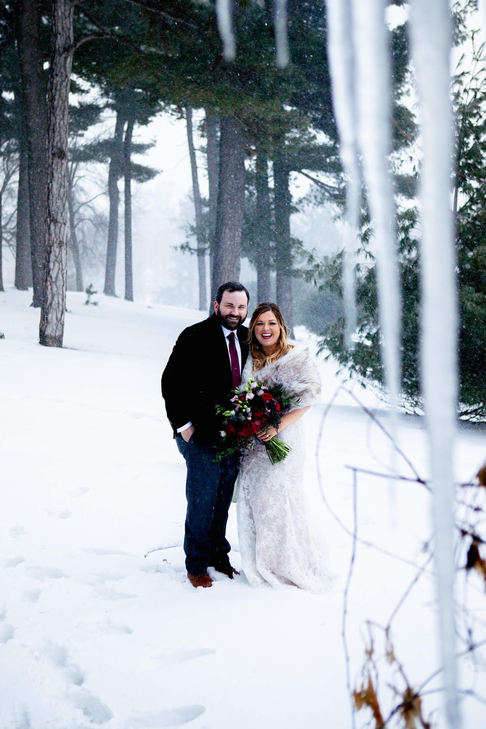 Winter Blizzard Wedding, Omaha, Nebraska.  Elmwood Park.  Invitations designed by Dana Osborne Design.