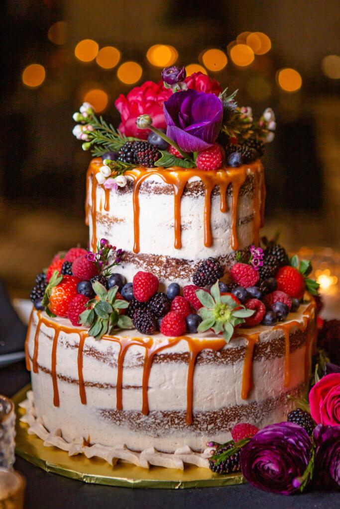 Berry and floral wedding cake.  Omaha, Nebraska.