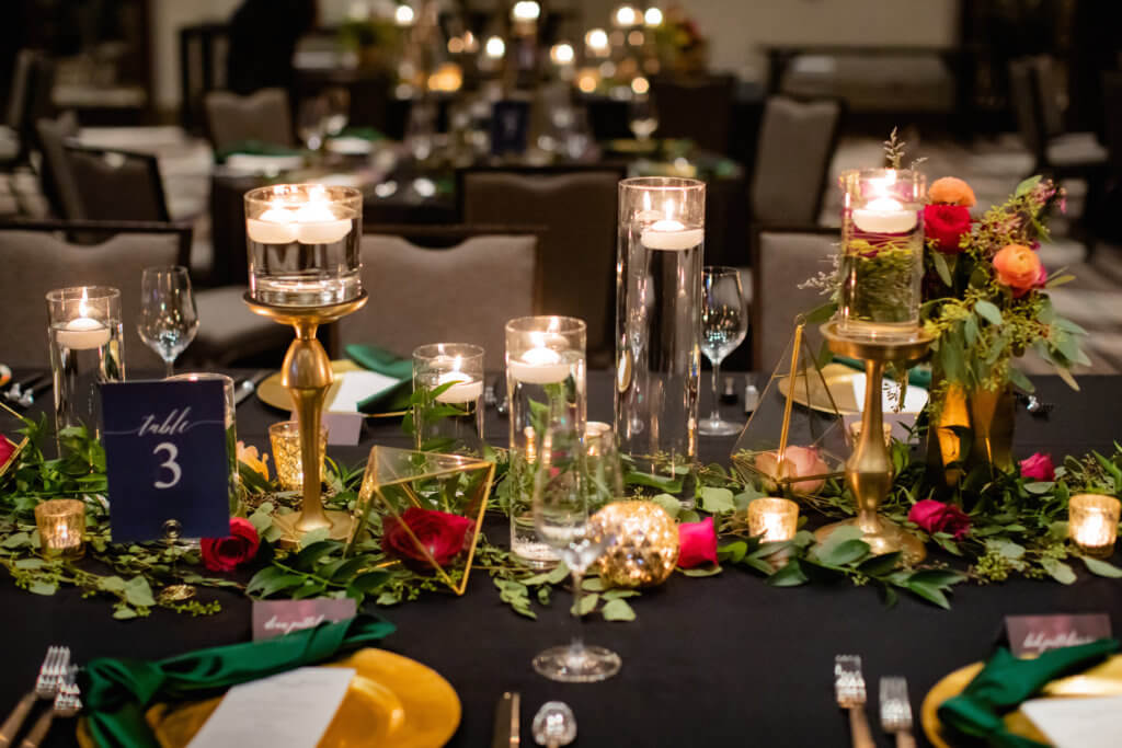 Reception table, jewel tones, candles, Omaha, Nebraska