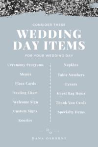 Wedding Day Items for your Wedding, Dana Osborne Design
