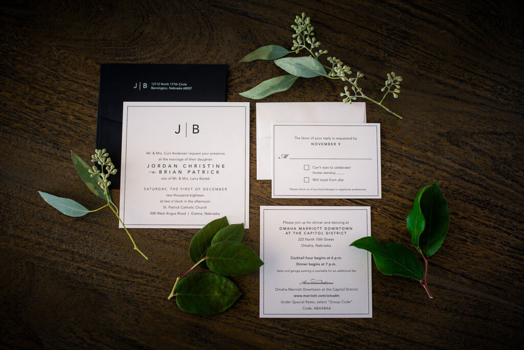 square black & white wedding invitations