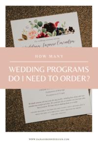 How Many Ceremony Programs to Order