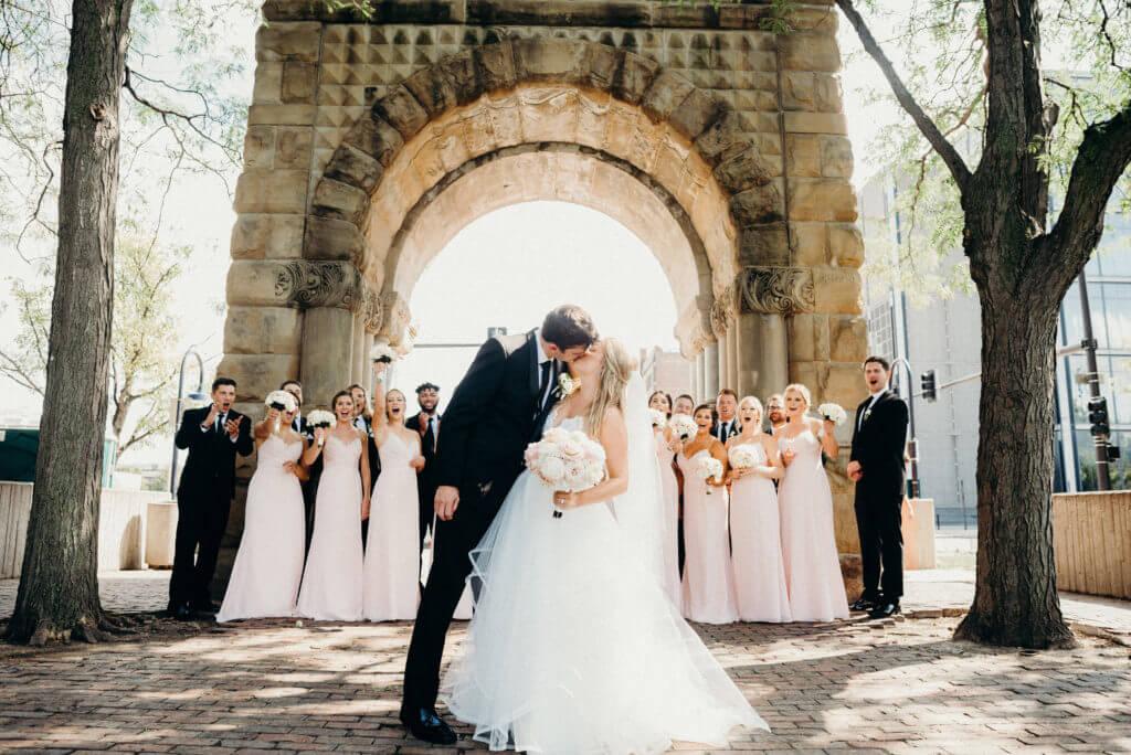 Couple Kiss Wedding Downtown Omaha