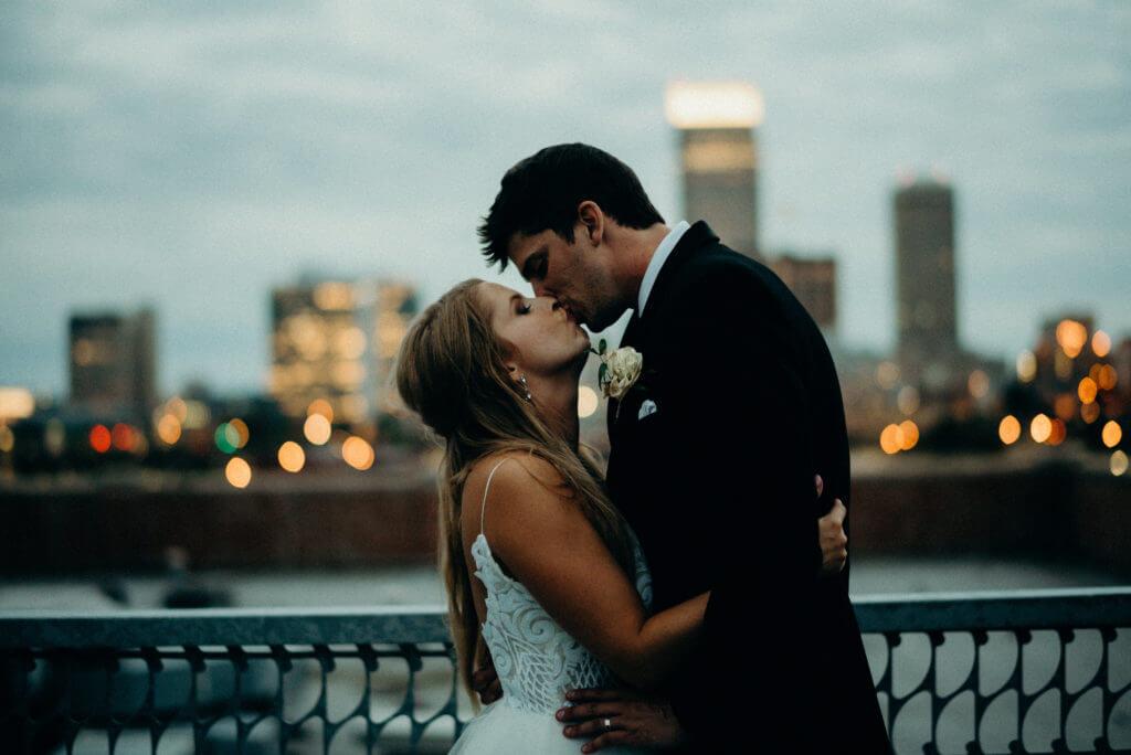 Dusk Wedding Kiss
