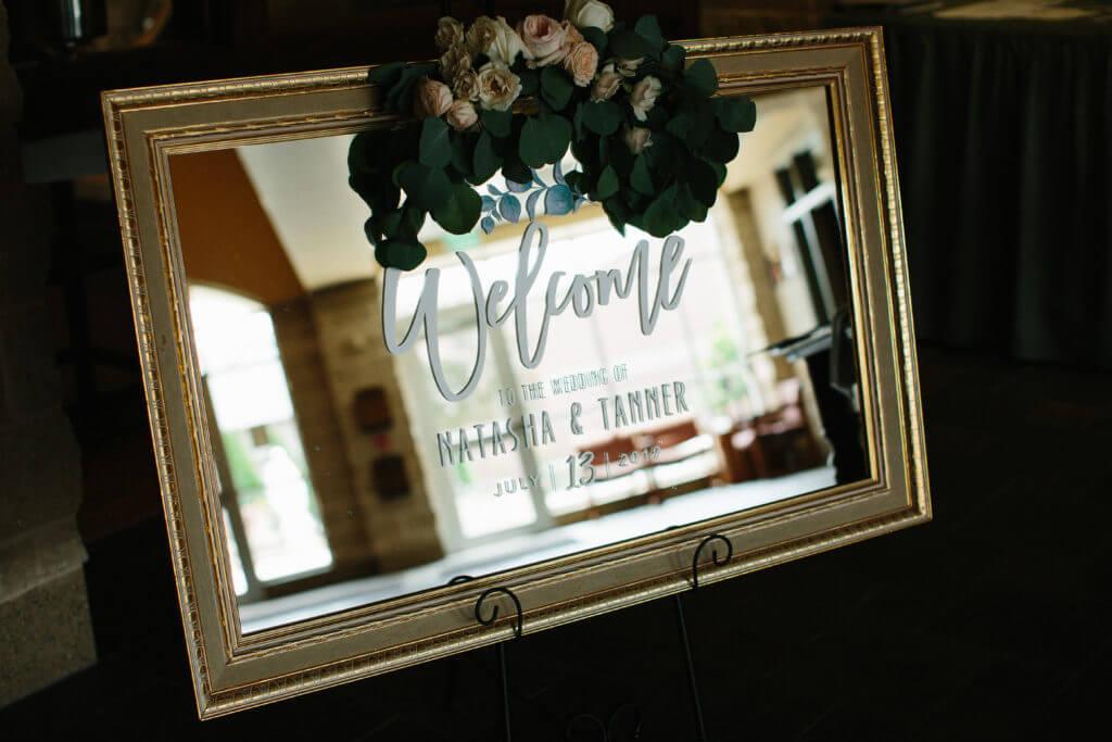 welcome mirror sign wedding