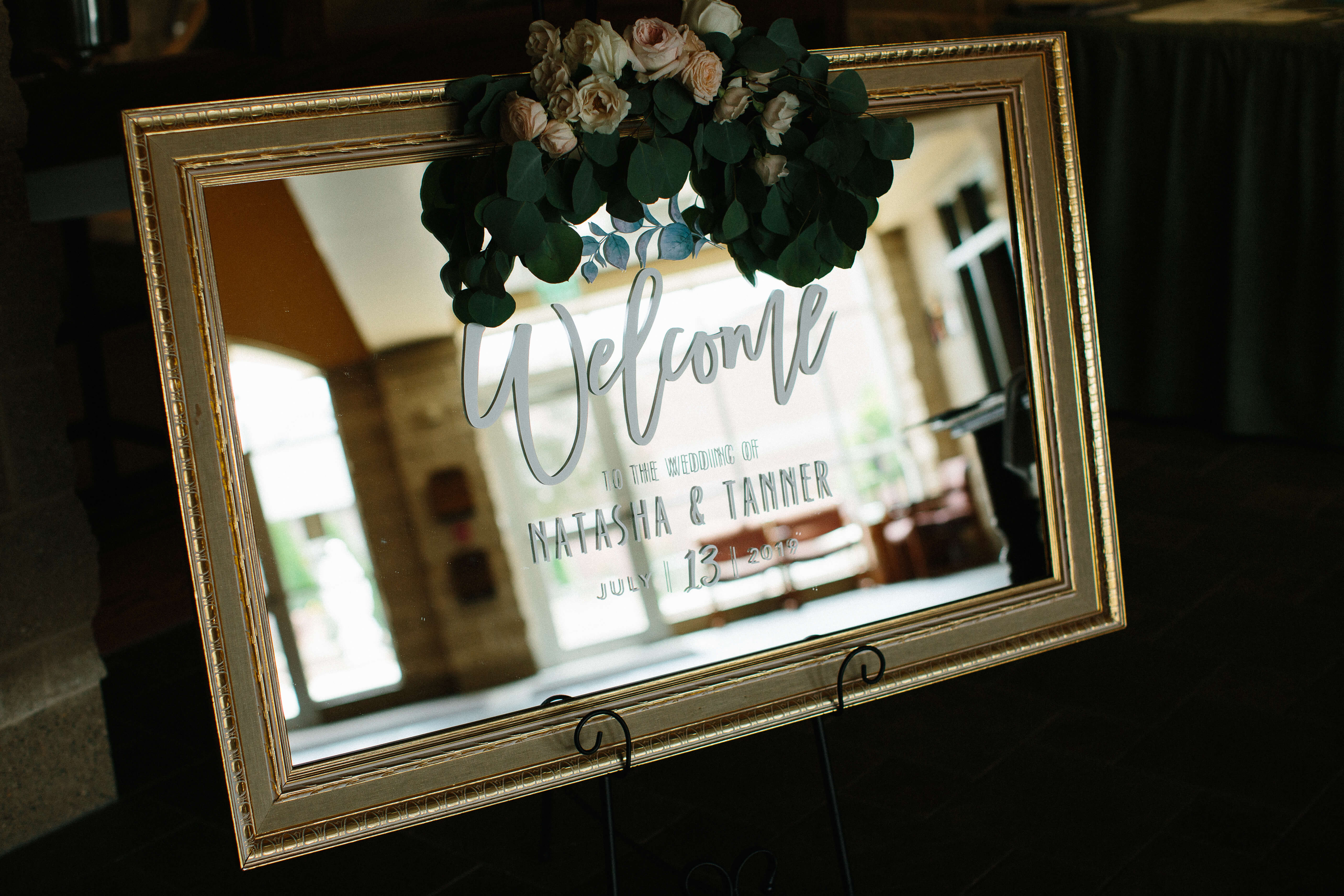 welcome mirror sign wedding