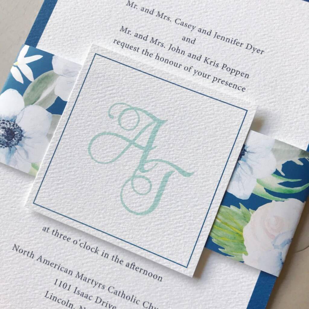 Floral blue wedding invitation