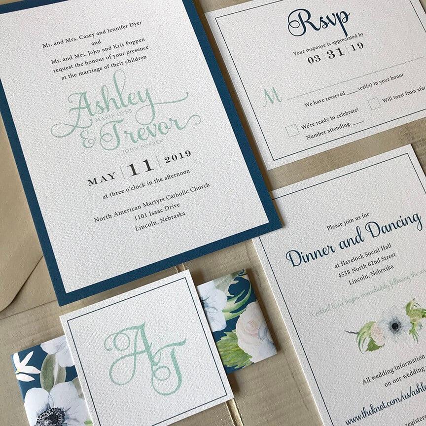 floral wedding invitations for midwest wedding by Dana Osborne