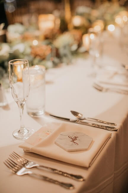 marble tile place card wedding