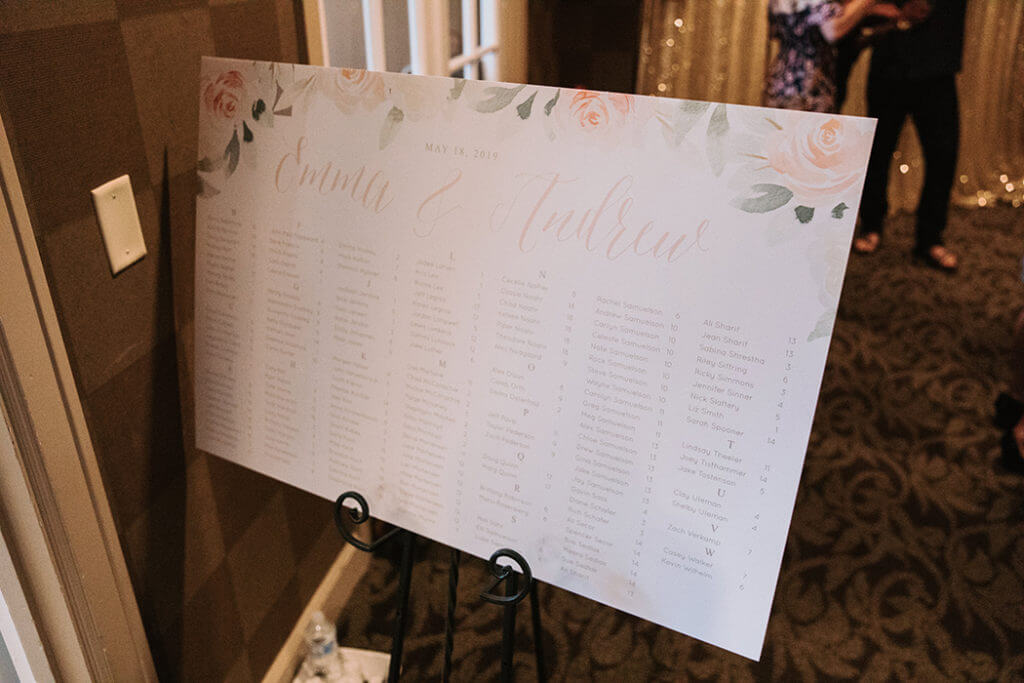 Blush Floral Watercolor Wedding Seating Chart