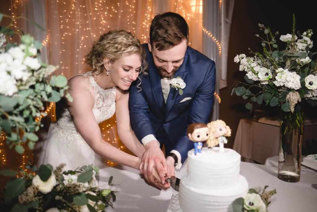 Cutting Cake Midwest Wedding