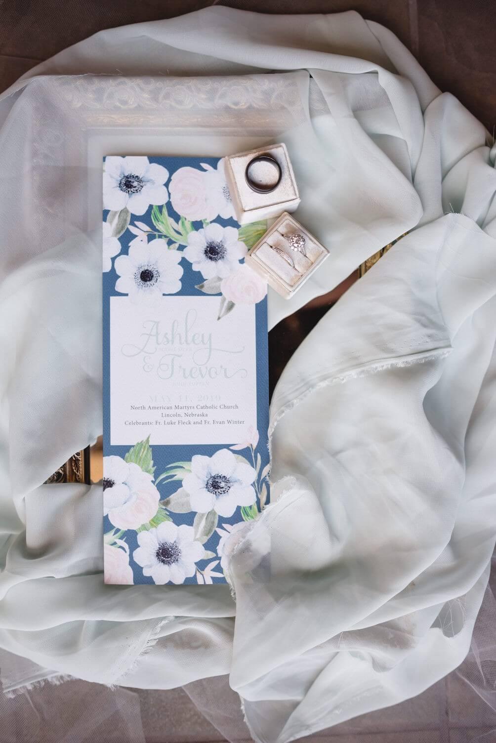 Blue floral wedding program