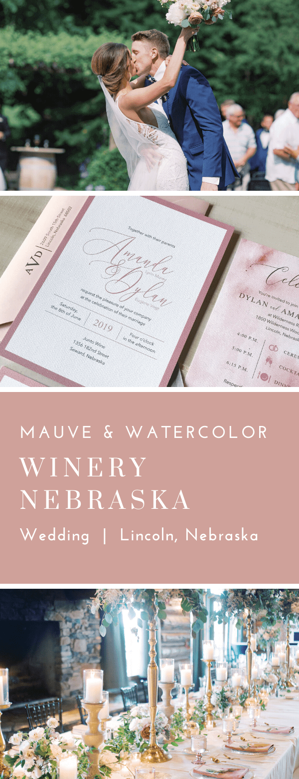 dusty rose, mauve, watercolor, wedding invitations, monogram, dana Osborne design, Omaha, Lincoln, Nebraska, midwest, affordable