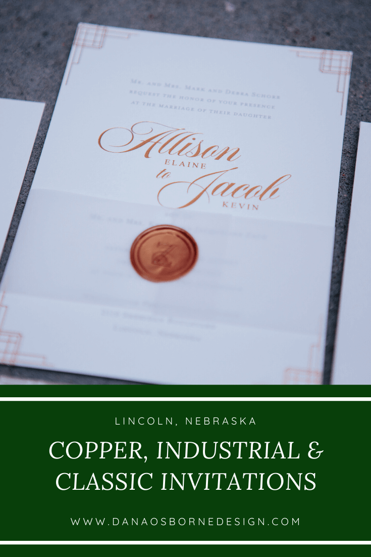 classic, wedding invitations, copper, industrial, dana Osborne design, Omaha, midwest, affordable