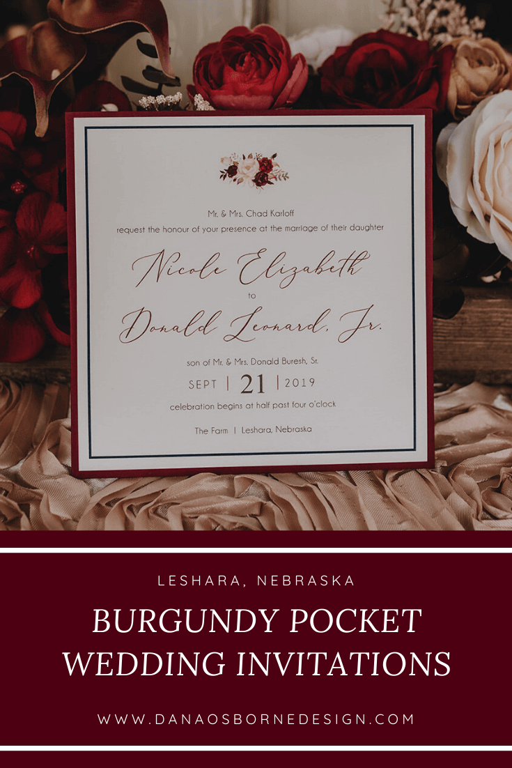 burgundy, navy, pocket, wedding invitations, outdoor wedding, dana Osborne design, Omaha, midwest, affordable