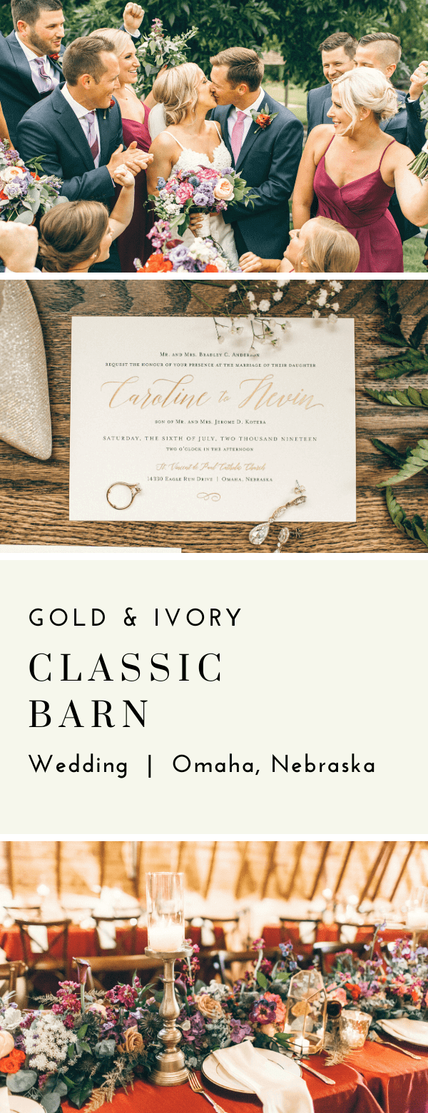 classic, wedding invitations, gold, ivory, black, dana Osborne design, Omaha, midwest, affordable