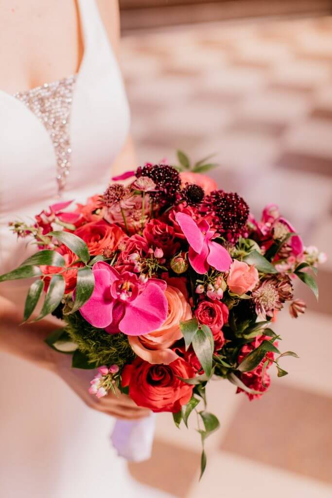 Wedding Bouquet, Fuchsia Pink, Durham Museum Omaha Wedding  |  Dana Osborne Design