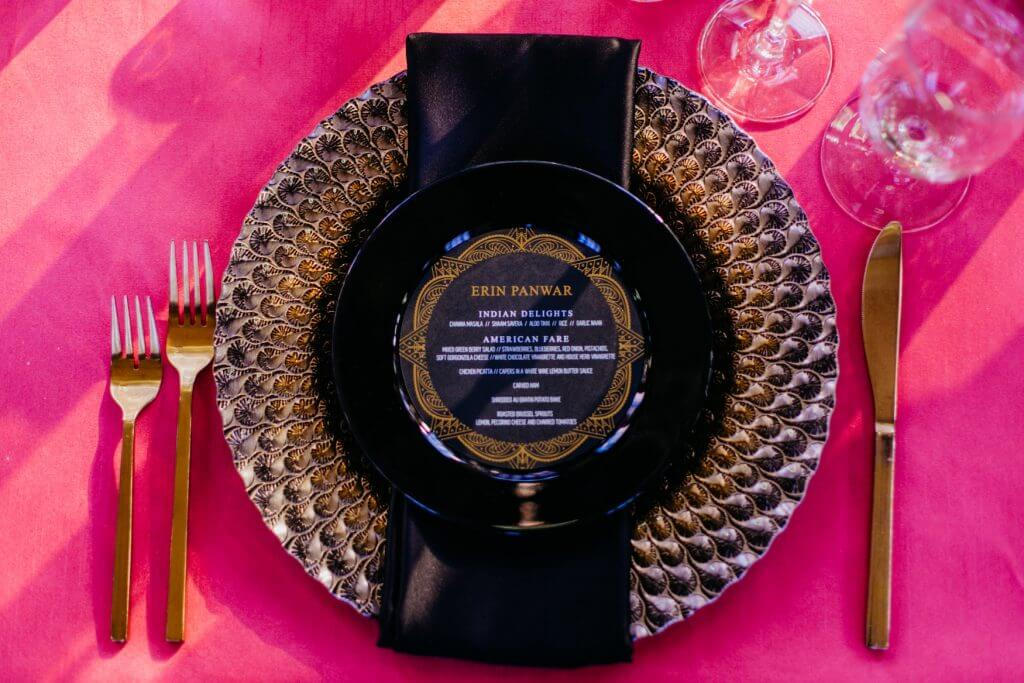 Gold and Black Wedding Menu, Durham Museum Omaha  |  Dana Osborne Design