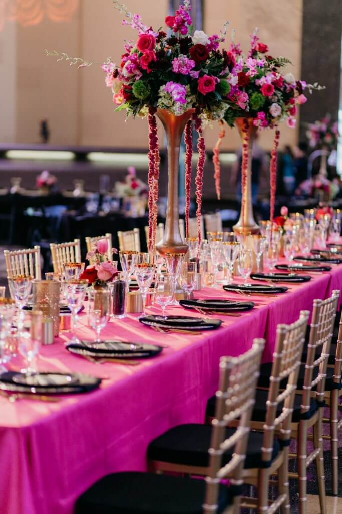 Bright pink fuchsia wedding reception tables  |  Dana Osborne Design