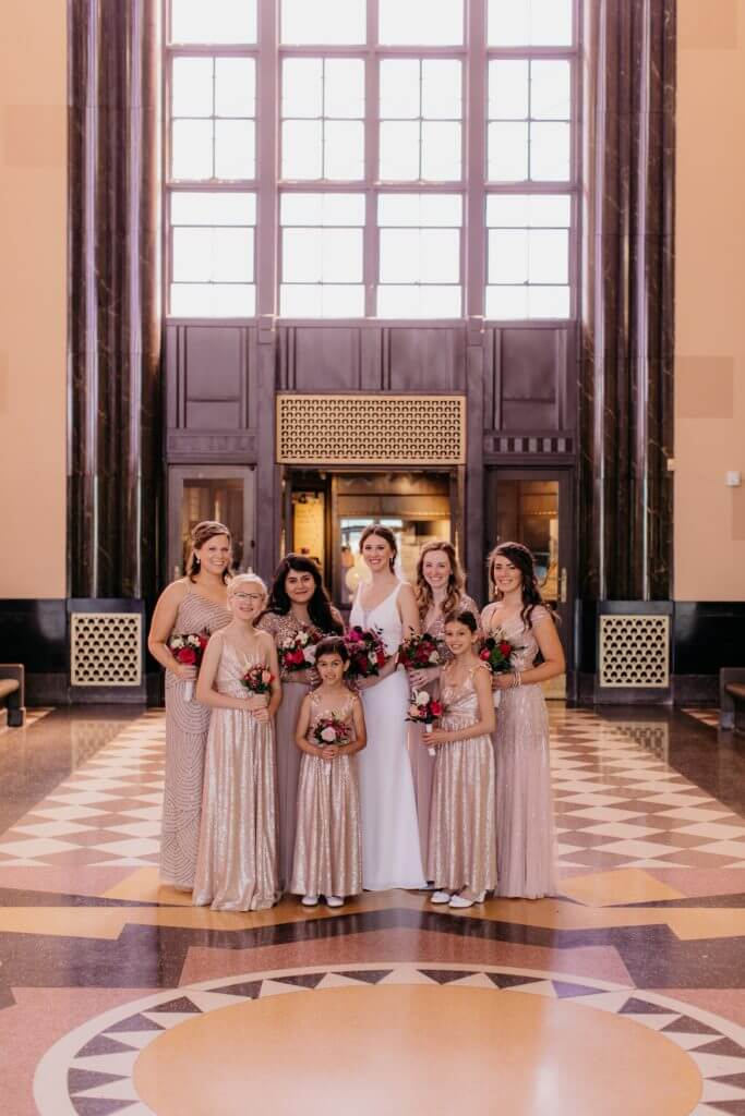 Bridesmaids Gold Champagne Dresses, Durham Museum Wedding  |  Dana Osborne Design