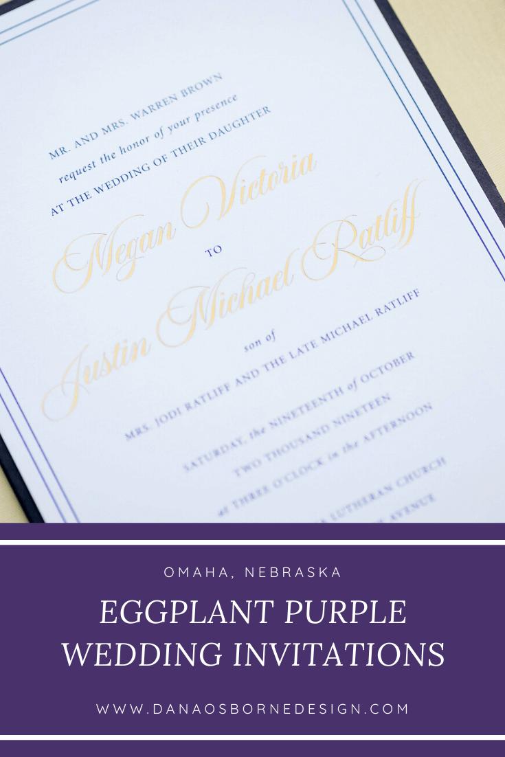 classic, wedding invitations, eggplant, purple, dana Osborne design, Omaha, midwest, affordable