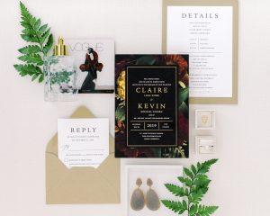 Black Dark Floral Wedding Invitations
