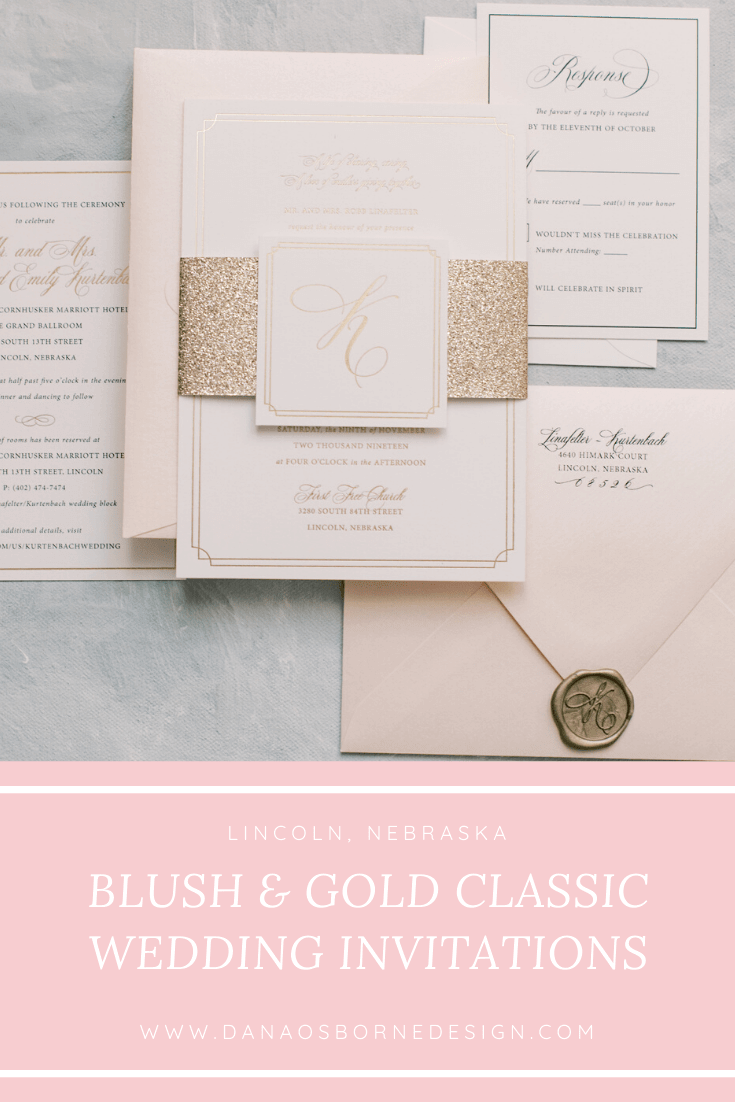 classic, wedding invitations, monogram, dana Osborne design, blush, gold, Omaha, midwest, affordable