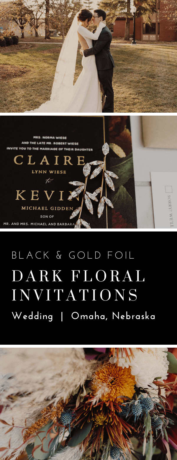 classic, wedding invitations, dark, moody, black, floral, dana Osborne design, Omaha, midwest, affordable