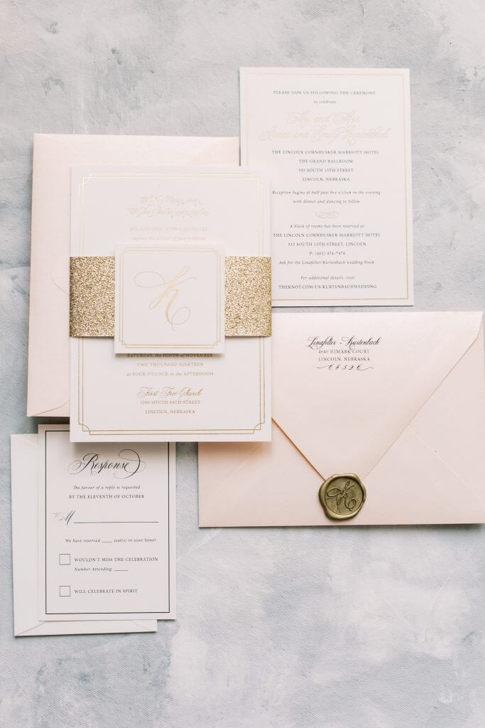 Gold and Blush Wedding Invitations Monogram Foil Wax Seal | Dana Osborne Design www.danaosbornedesign.com