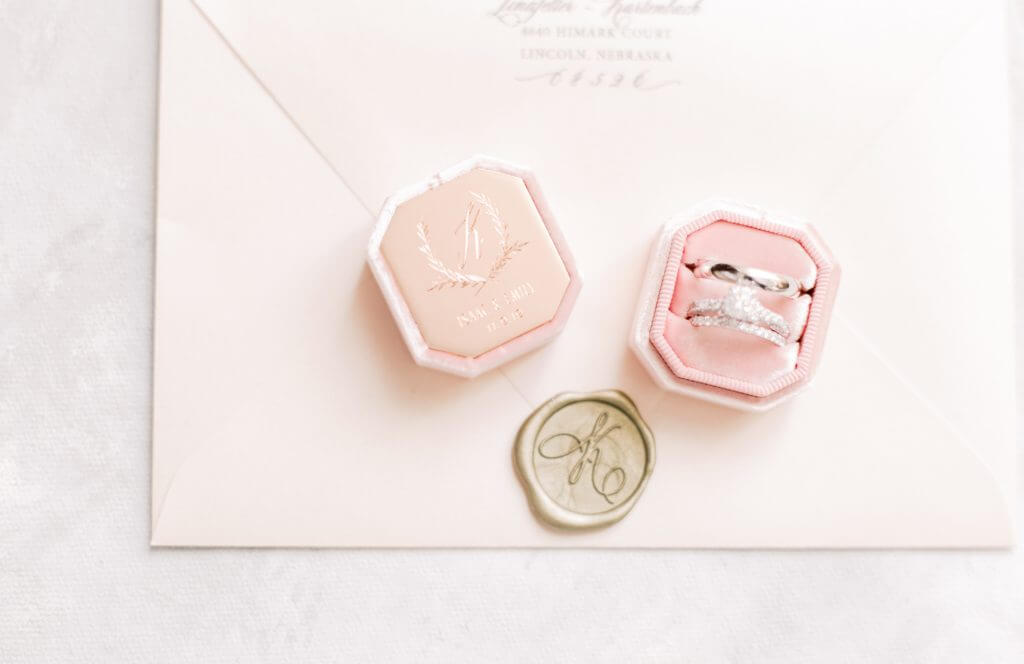 Blush Pink Gold Monogram Wax Seal Invitations  | Dana Osborne Design www.danaosbornedesign.com