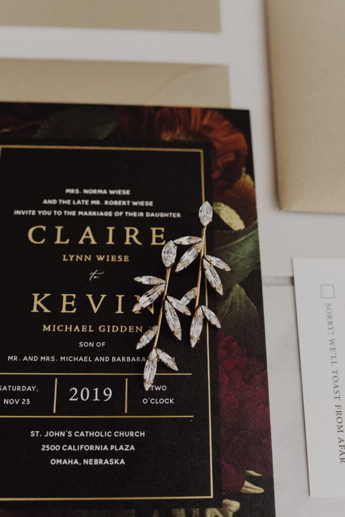 Dark, Moody Floral Wedding Invitations  |  Dana Osborne Design www.danaosbornedesign.com