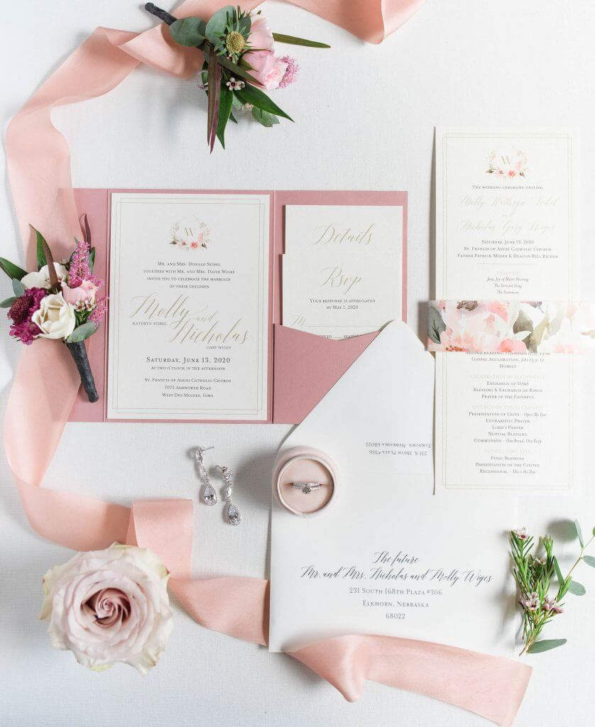 Mauve & Blush Pocket Wedding Invitations. Floral Monogram!  By Dana Osborne Design