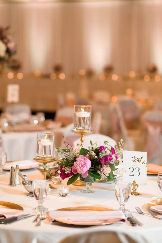 Hilton Garden Inn West Des Moines wedding.  Peony centerpiece.  Invitations by Dana Osborne Design.