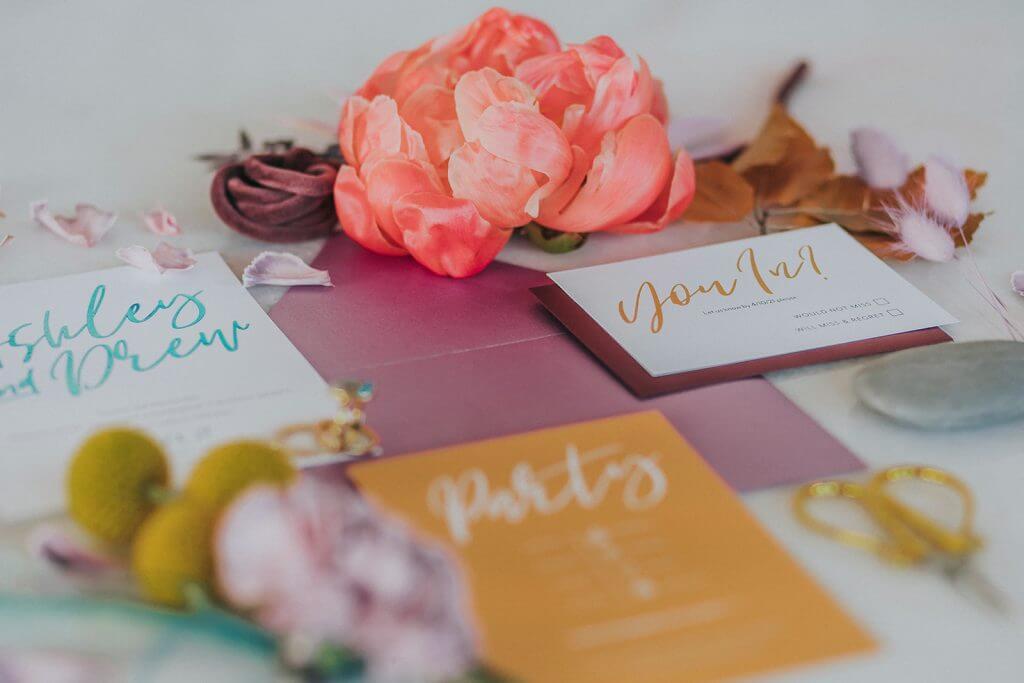 Iridescent Wedding Invitations.  Bright, yellow, purple wedding invites.  By Dana Osborne Design. www.danaosbornedesign.com