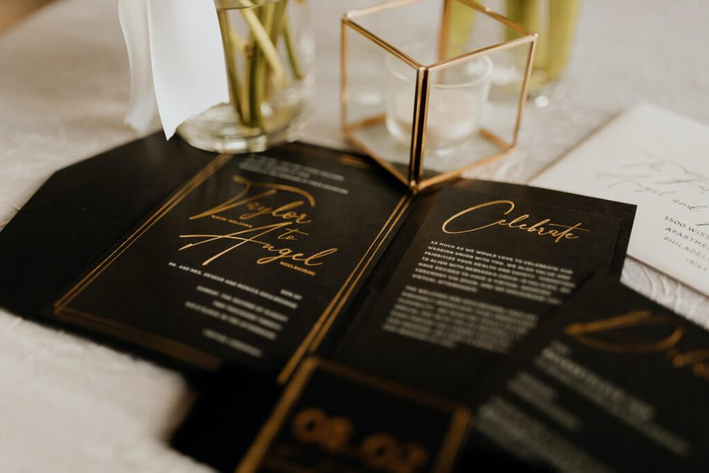 Black and gold foil wedding invitations.  By Dana Osborne Design.