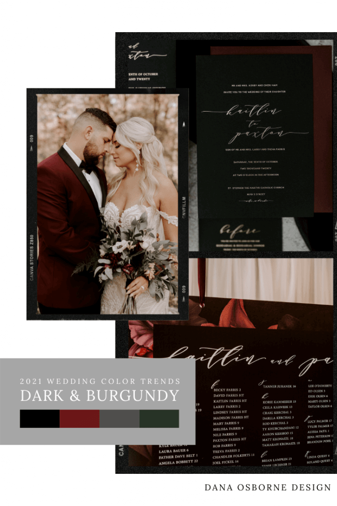 2021 Wedding Color Trends Dark and Moody, Black & Burgundy Wedding Invitations Dana Osborne Design www.danaosbornedesign.com