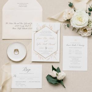 mauve dusty rose floral wedding invitation