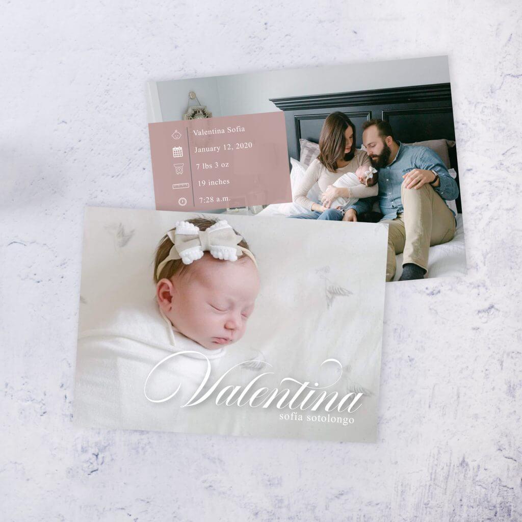 Baby Girl Baby Announcement Omaha Nebraska.  Dana Osborne Design.