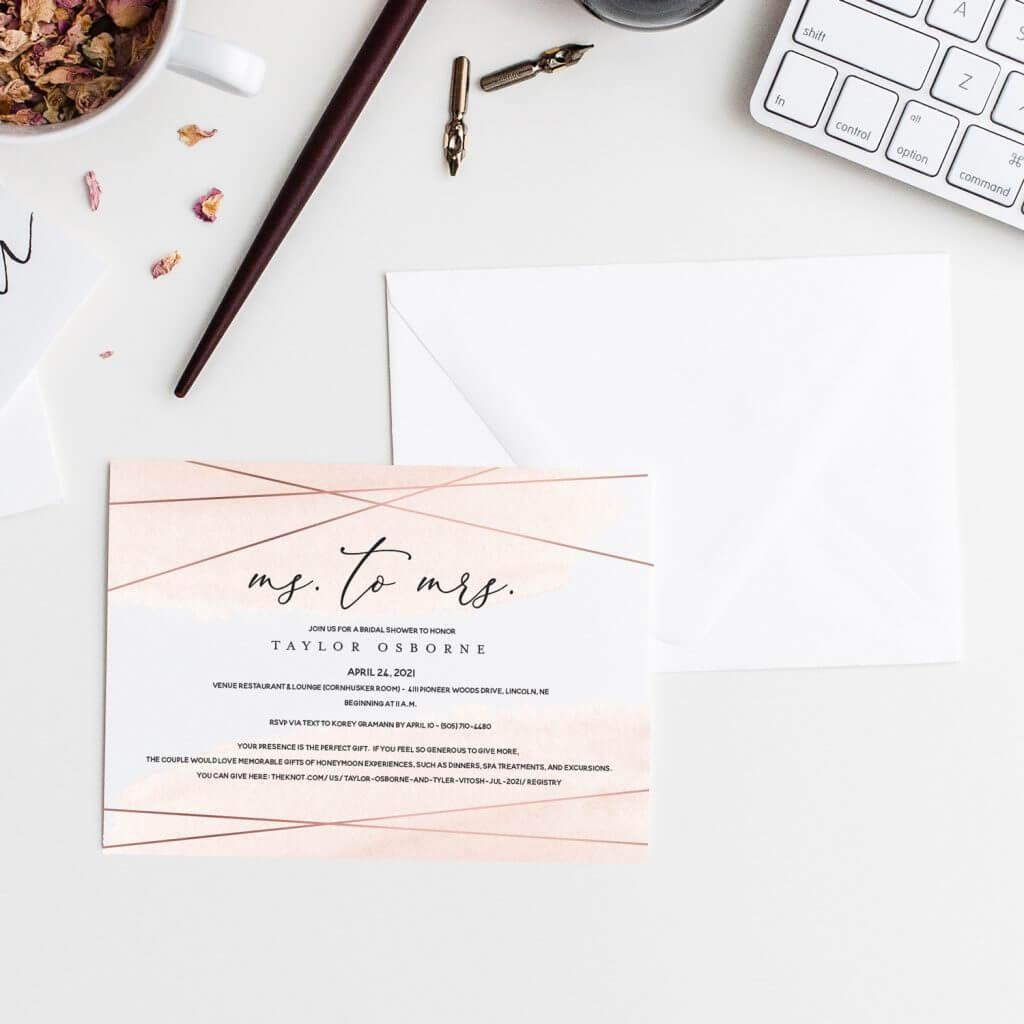 Bridal Shower invitations Omaha, Nebraska.  Dana Osborne Design.