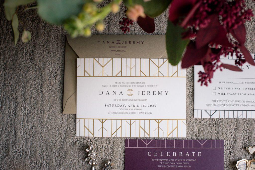 Art Deco Gold Burgundy Wedding Invitations