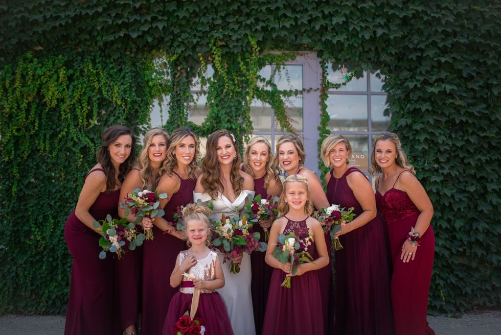 Burgundy Bridesmaids Downtown Omaha