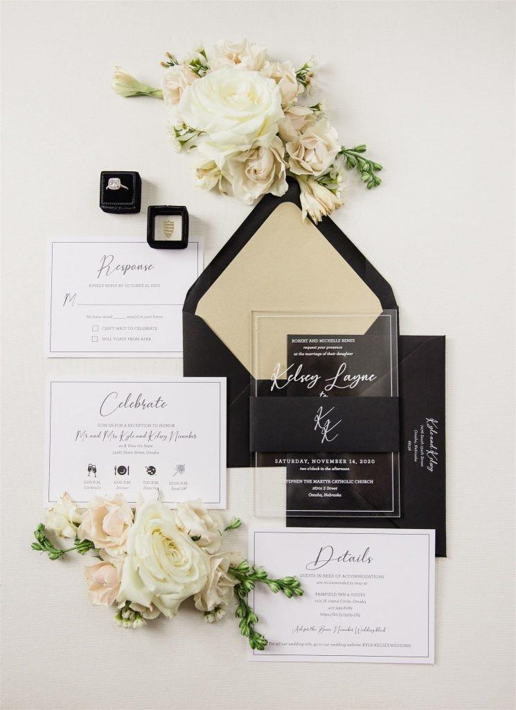 acrylic wedding invitations black envelopes