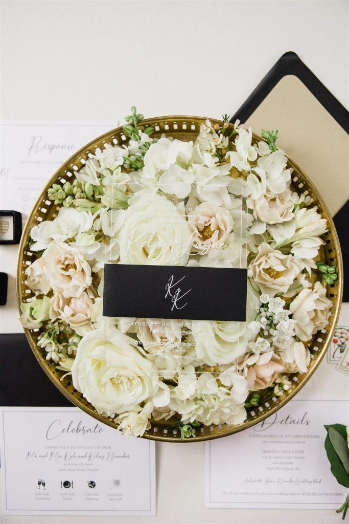 acrylic wedding invitation styling nebraska