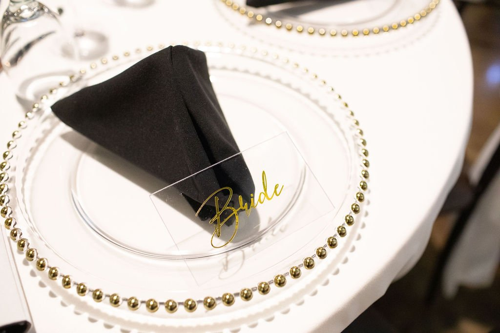 acrylic place card gold text