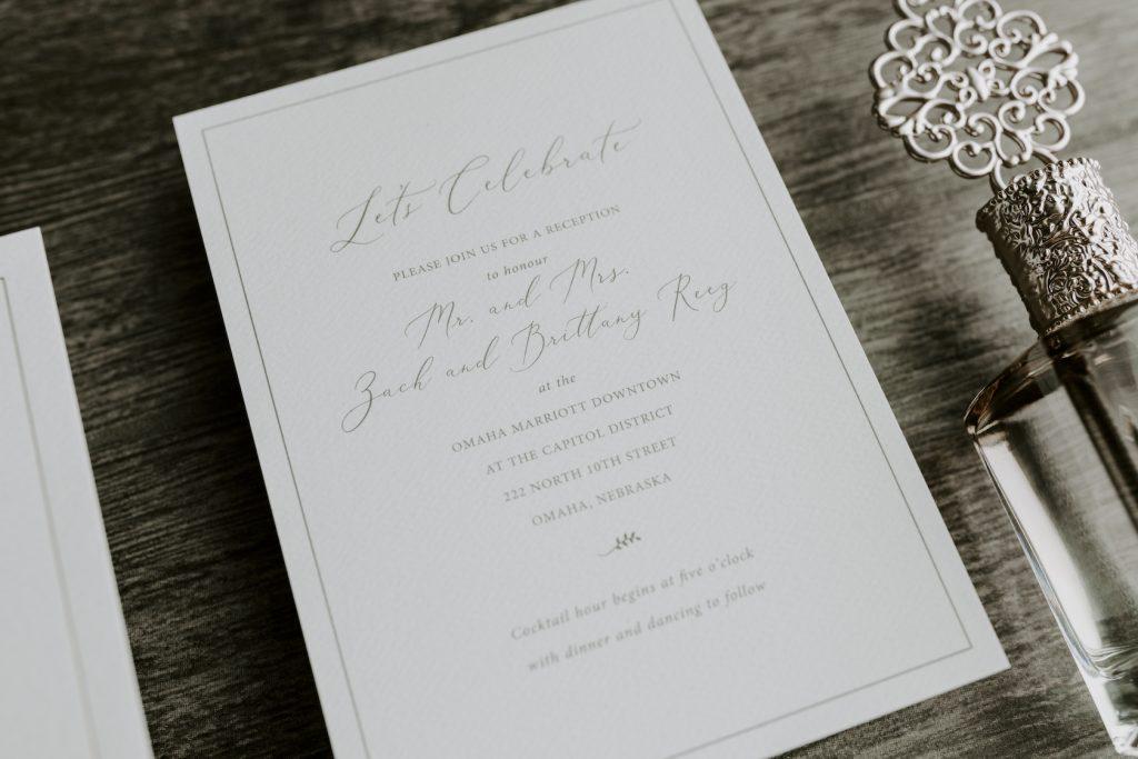 Wedding invitation detail card.  Reception card.  Dana Osborne Design.
